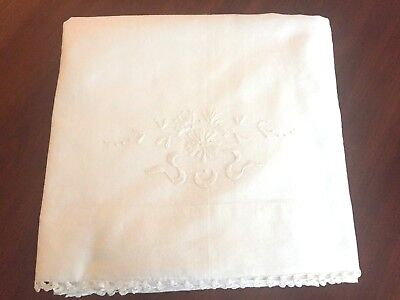 """Antique Cotton Bed Sheet Hand Embroidered Design Crochet Edging  Measures 80x90"""""""