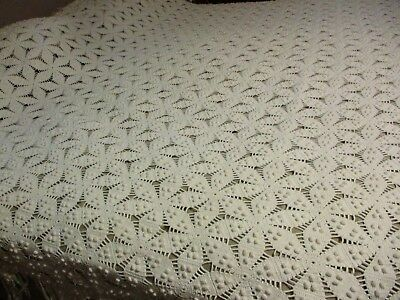 """Antique early 1900's Hand Crochet Popcorn Star Ivory large bedspread 100x96"""""""