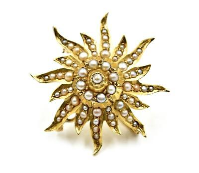 Seed Pearl Flower Pin 14k Yellow Gold