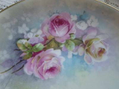 Antique A Lanternier Plate~Pink Roses~Hand Painted French Limoges