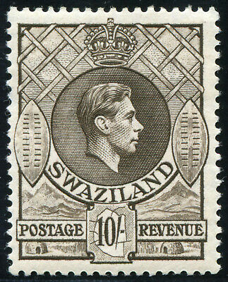 Swaziland 1938 KGVI 10/- Mint Hinged SG 38, first printing, Perf. 13.3x13.2