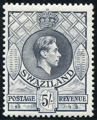 Swaziland 1938 KGVI 5/- Mint Hinged SG 37, first printing, Perf. 13.3x13.2