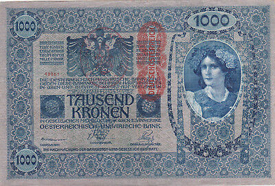 1000 Korona/kronen Ef Banknote From Shs Kingdom 1919 With A Stamp From Zimony!