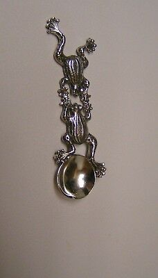 Salt Spoon Sterling Silver (  w/2 Frog   )
