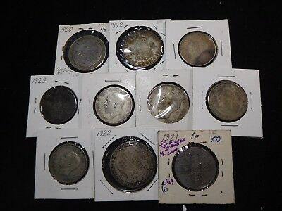 K32 Great Britain Silver Florin & 1/2 Crown Mixed Group 10 pcs Total