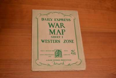 Daily Express War Map Sheet I Western Zone (includes photos of 'men in command')