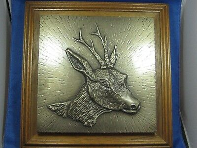 "Antique German 12.5""x12..5"" Embossed & Engraved Pewter Picture On Oak Broad DEER"