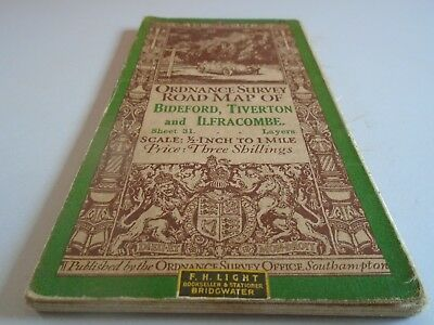 vintage cloth ordnance survey map of Bideford Tiverton and Ilfracombe