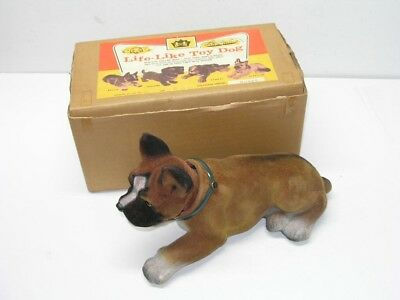 Large Vintage Nodding Boxer Dog Toy In The Original Box - Japan