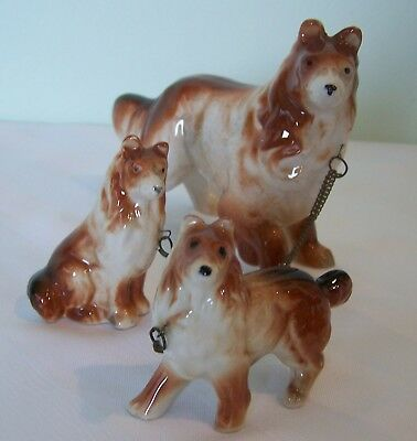 """Vintage Collie With 2 Pups Figurine Excellent Condition 4"""" Tall And 2.5"""" Tall"""