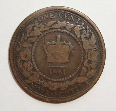 1861 Nova Scotia Large Cent One Penny Victoria Coin