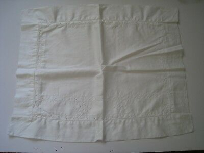 Vintage White Sham Pillow Case Hand Embroidered French Knots Button Closure
