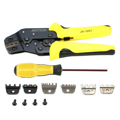 Wire Crimper Pliers Set Crimping Tool Kit Cable Ratchet With 3 Spare Dies X1K7