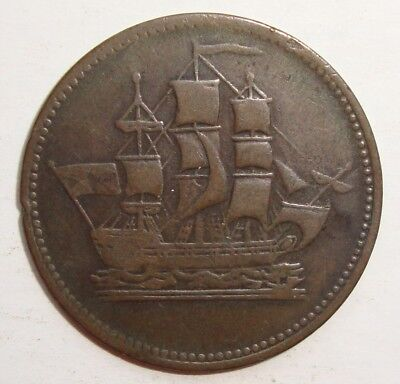 Ships Colonies & Commerce Pei Half Penny Token Coin