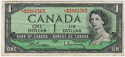 1954 Bank Of Canada One 1 Dollar Replacement Bank Note *bm 2081565 Nice Bill