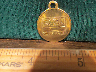 Vintage Exxon Travel Club Lost And Found Medal Key Chain Fob Brass Nice One