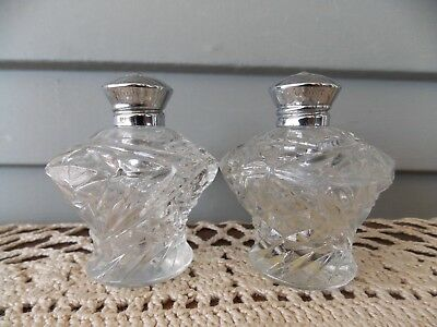 Vintage Clear Glass Salt & Pepper Shakers with Metal Lids