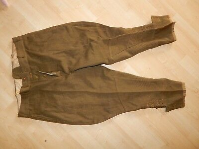Vintage WW1 to WW2 Cropped Military Army Pants Trouser Button Up Bottoms