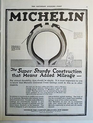 1919 Michelin Sturdy Construction Tire tires mean mileage vintage ad