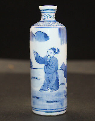 Chinese collection rare Hand-painted blue and white snuff bottles Free shipping
