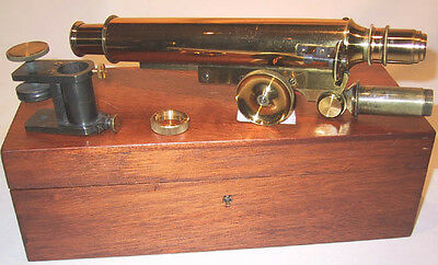 English Bench Mounted Brass Microscope