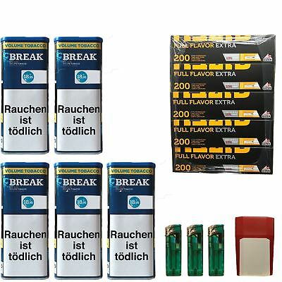 5 Break Blue/Blau XXL Volumentabak 130g, Full Flavor Extra Hülsen, Feuerz., Box