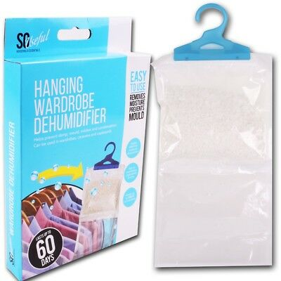 Large HANGING DEHUMIDIFIER BAGS Remove Damp Car/Caravan/Van/Wardrobe/Cupboard