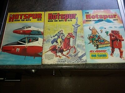 Three Hotspur Book For Boys Annuals 1974, 1976, 1977 In Very Good Condition.