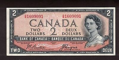 Bank Of Canada 1954 $2 Beattie Coyne Devil's Face Note Serial G/b1609091 Vf+
