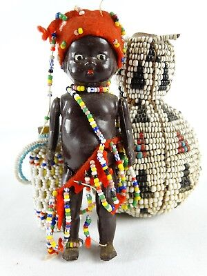 Collection of Vintage Zulu African Bead Work Inc Perfume Scent Bottle Doll Gourd