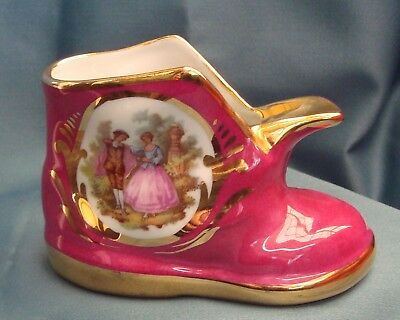 Limoges Boot Marroon & Gold + 'Lady & Gent Dancing in Garden' [France] Exc Cond