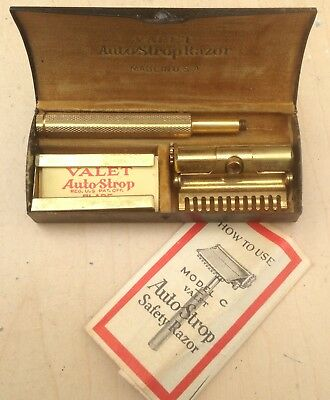 Antique VALET AUTO-STROP SAFETY RAZOR Model C w/ Original Steel Case ca 1905-07
