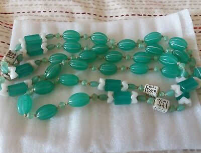 Art Deco Czech Neiger Green Uranium Glass Bead Necklace Egyptian revival knot