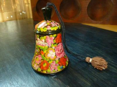 """Vintage Hand Painted Lacquer Flower Wood Carved 3"""" Bell Brass Clanger"""