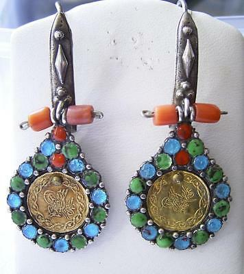 Antique Ottoman Turkish 22Kt Gold Coin Silver Coral Enamel Long Drop Earrings