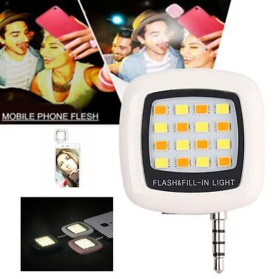 16 LED Camera Selfie Fill Flash Light 3.5mm For Android IOS iPhone 5s 6 White PK