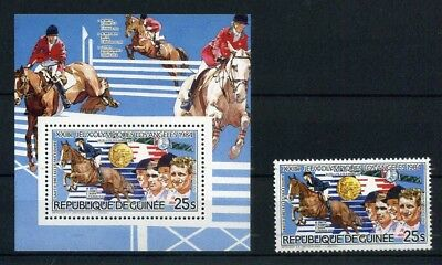 Guinea MiNr. 1017 + Block 127 A postfrisch/ MNH Olympiade 1984 (Oly638