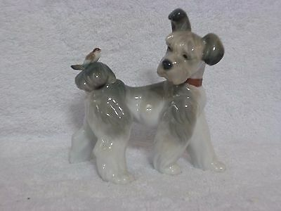 "Rare Lladro Terrier Dog With Bird on Tail ""Unexpected Visit"" Figurine #6829"