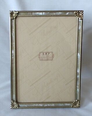 Vintage Shabby Gold Metalcraft Faux Mother Of Pearl Embossed 5x7 Picture Frame