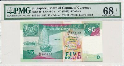 Board of Commissioners of Currency Singapore  $5 ND(1989) Rare PMG  68EPQ