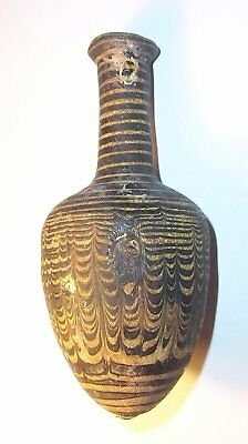 Greek Hellenistic core formed glass amphoriskos 3rd century B.C.   amphora