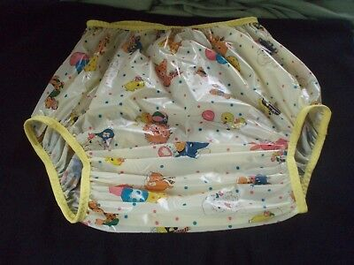 Adult Baby    Yellow Animal  Printed Vinyl  Soft Pants 28/36