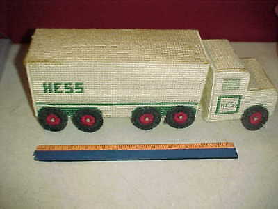 "HESS 15"" L Embroidered 10 Wheeler Toy Box Truck from 1980's One of a Kind Made"