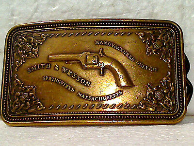 """Vintage Used 1980 Smith & Wesson """"Pistol Case"""" Solid Brass Belt Buckle, Old Look"""