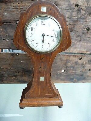 Antique mantle clock art nouveu / arts crafts inlay in need of attention French