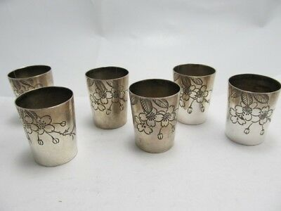 Set 6 Flower Silver Small Hand Tooled Shot /toasting Cups Xlnt Cond No Mono