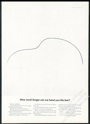 1965 VW Beetle classic car outline art Hand You This Line Volkswagen 11x8 ad