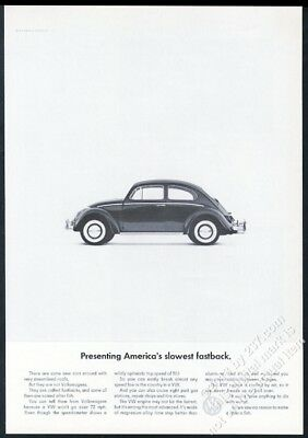 1965 VW Beetle classic car photo America's Slowest Volkswagen 11x8 vintage ad