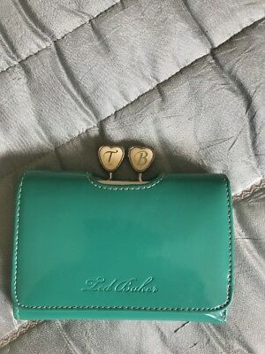 Ladies Ted Baker Green Patent Leather Bi Fold Purse Wallet