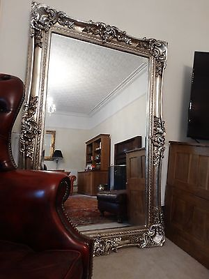 HUGE XL Oversized large Opulent Mirror Chunky Silver frame, wall mounted  Leaner